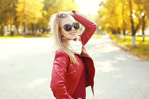 woman wearing a dry cleaned leather jacket